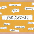 Yardwork Corkboard Word Concept — Stock Photo #41363959