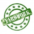 Green Weathered Yardwork Stamp Circles and Stars — Stock Photo #41364013