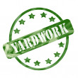 Green Weathered Yardwork Stamp Circle and Stars — Stock Photo #41364019