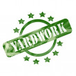 Green Weathered Yardwork Stamp Circle and Stars design — Stock Photo #41364035