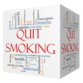 Quit Smoking Word Cloud Concept on a 3D cube — Stock Photo