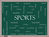 Sports Word Cloud Concept on a Blackboard — Stock Photo