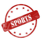 Red Weathered Sports Stamp Circle and Stars — Stock Photo