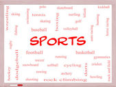 Sports Word Cloud Concept on a Whiteboard — Stock Photo