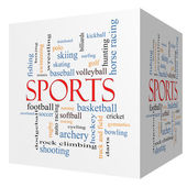 Sports 3D cube Word Cloud Concept — Stock Photo