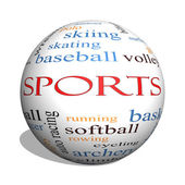 Sports 3D sphere Word Cloud Concept — Stock Photo