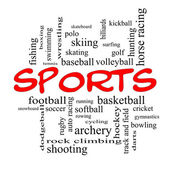 Sports Word Cloud Concept in red caps — Stock Photo
