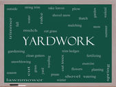 Yardwork Word Cloud Concept on a Blackboard — Stock Photo