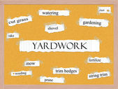 Yardwork Corkboard Word Concept — Stock Photo