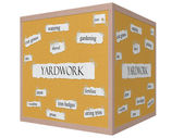 Yardwork 3D cube Corkboard Word Concept — Stock Photo