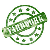 Green Weathered Yardwork Stamp Circles and Stars — Stock Photo
