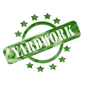 Green Weathered Yardwork Stamp Circle and Stars design — Stock Photo