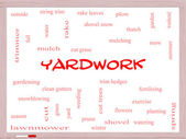 Yardwork Word Cloud Concept on a Whiteboard — Stock Photo