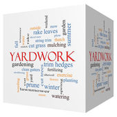 Yardwork 3D cube Word Cloud Concept — Stock Photo