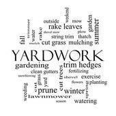 Yardwork Word Cloud Concept in black and white — Stock Photo