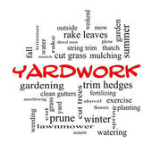 Yardwork Word Cloud Concept in red caps — Stock Photo