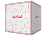 Surfing Word Cloud Concept on a 3D cube Whiteboard — Stock Photo