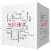 Surfing 3D cube Word Cloud Concept — Stock Photo
