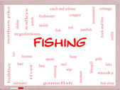 Fishing Word Cloud Concept on a Whiteboard — Stockfoto