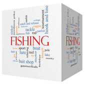 Fishing 3D cube Word Cloud Concept — Stock Photo