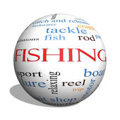 Fishing 3D sphere Word Cloud Concept — Stockfoto