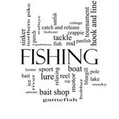 Fishing Word Cloud Concept in black and white — Stockfoto