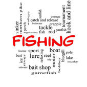 Fishing Word Cloud Concept in red caps — Stockfoto
