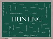 Hunting Word Cloud Concept on a Blackboard — Stock Photo