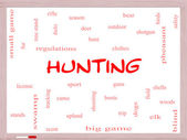 Hunting Word Cloud Concept on a Whiteboard — Stock Photo
