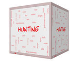 Hunting Word Cloud Concept on a 3D cube Whiteboard — Stock Photo