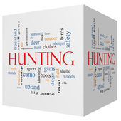 Hunting 3D cube Word Cloud Concept — Stock Photo
