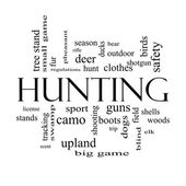 Hunting Word Cloud Concept in black and white — Stock Photo