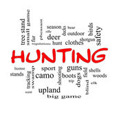 Hunting Word Cloud Concept in red caps — Stock Photo