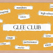 Stockfoto: Glee Club Corkboard Word Concept