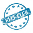 Blue Weathered Glee Club Stamp Circle and Stars — Stock Photo #41659555