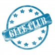 Stockfoto: Blue Weathered Glee Club Stamp Circle and Stars