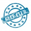Stockfoto: Blue Weathered Glee Club Stamp Circles and Stars