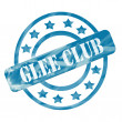 Stock fotografie: Blue Weathered Glee Club Stamp Circles and Stars