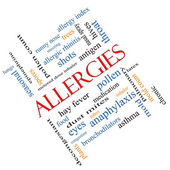 Allergies Word Cloud Concept Angled — Stock Photo