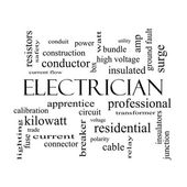 Electrician Word Cloud Concept in black and white — Stock Photo
