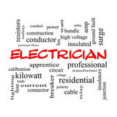 Electrician Word Cloud Concept in red caps — Stock Photo