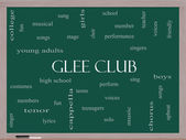 Glee Club Word Cloud Concept on a Blackboard — Stok fotoğraf