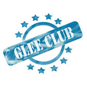 Blue Weathered Glee Club Stamp Circle and Stars design — Stockfoto