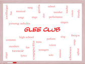 Glee Club Word Cloud Concept on a Whiteboard — Photo