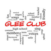 Glee Club Word Cloud Concept in red caps — Stockfoto