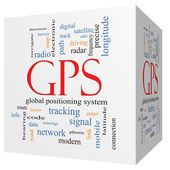 GPS 3D cube Word Cloud Concept — Stock Photo