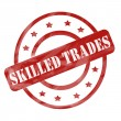 Foto de Stock  : Red Weathered Skilled Trades Stamp Circles and Stars