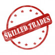Foto de Stock  : Red Weathered Skilled Trades Stamp Circle and Stars