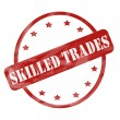 Stock Photo: Red Weathered Skilled Trades Stamp Circle and Stars