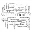 图库照片: Skilled Trades Word Cloud Concept in black and white